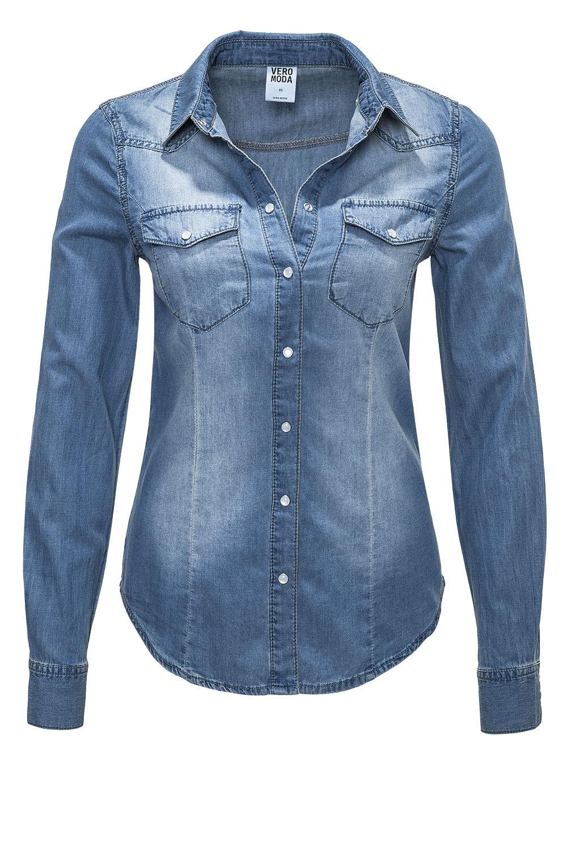 womens denim shirt vero moda womenu0027s denim blouse ls denim shirt med. blue, 29,95 u20ac HLLABTV