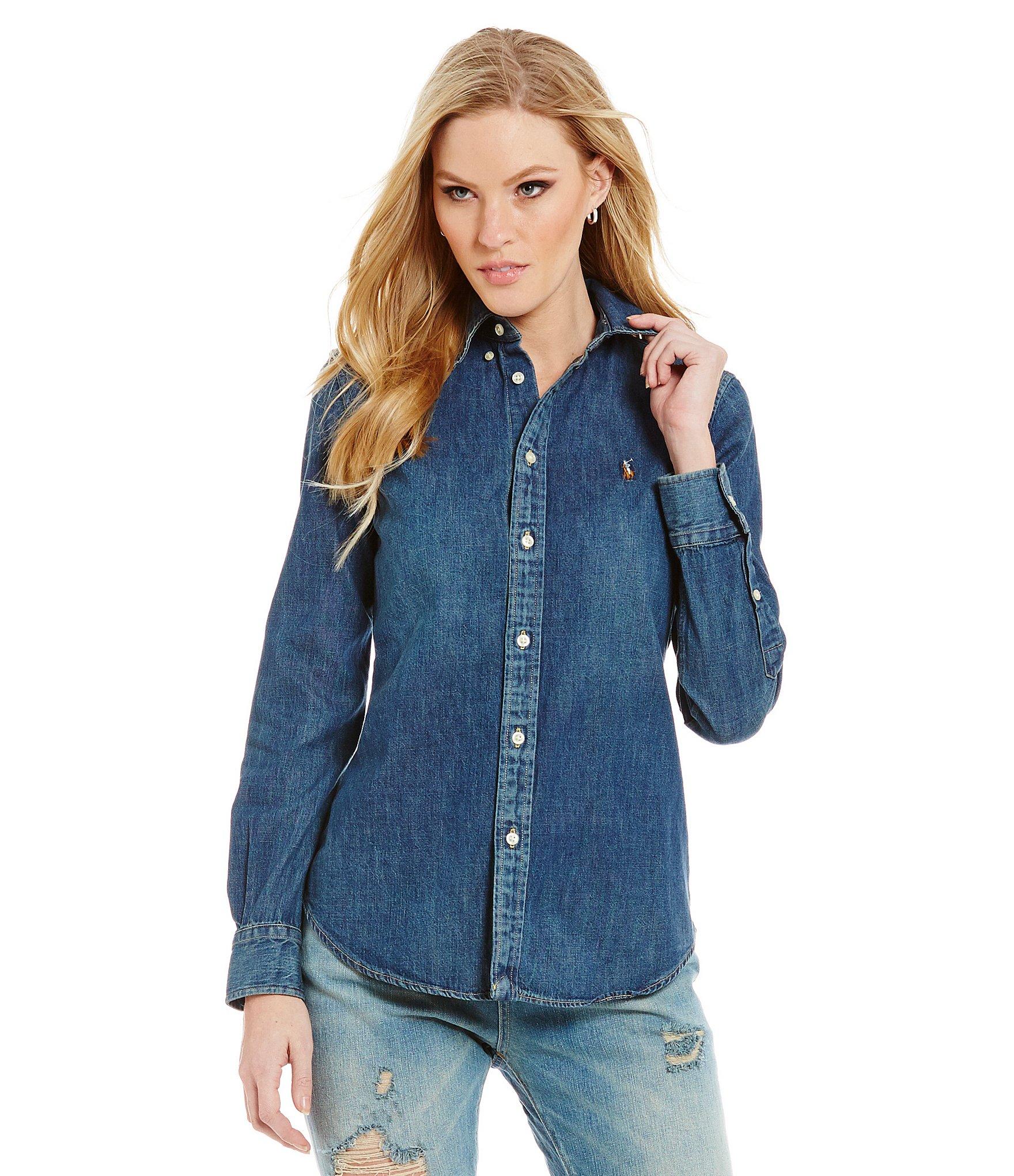 womens denim shirt: womenu0027s casual u0026 dressy tops u0026 blouses | dillards.com OQILHWC