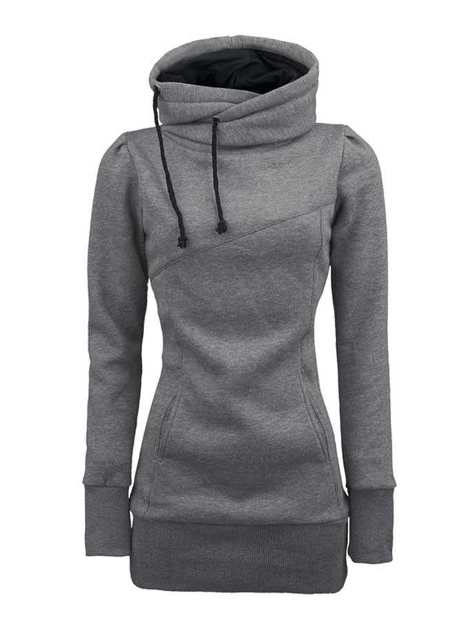 womens hoodies womenu0027s loose leisure slim long hoodie 4 colors CKXCPWR