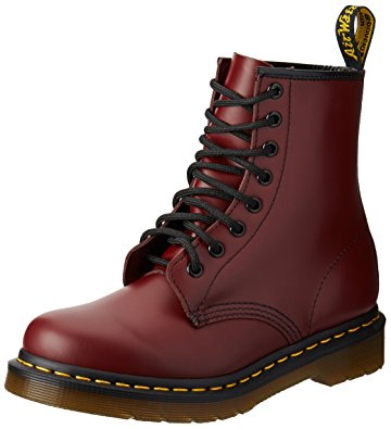 womens leather boots dr. martenu0027s womenu0027s 1460 8-eye patent leather boots, cherry red rouge  smooth ALEXLOC