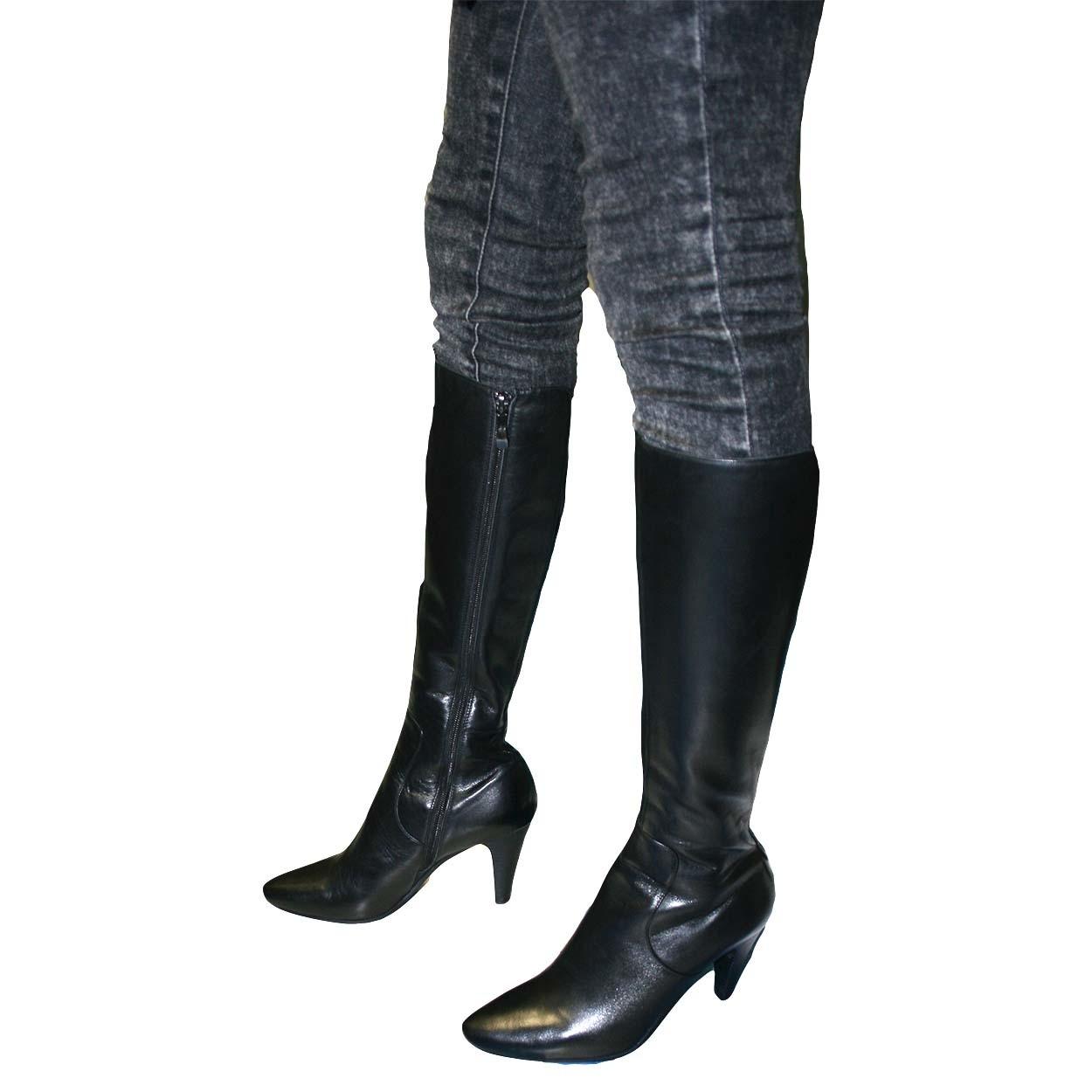 womens leather boots solemani womenu0027s paradise black leather boots narrow calf KNVGOCB