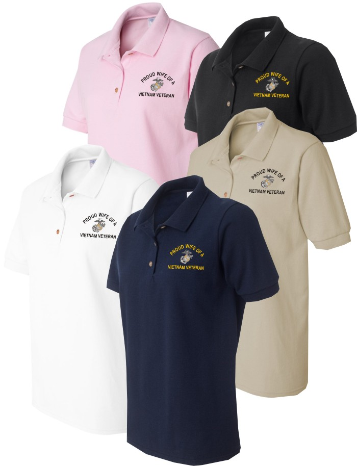 womens military pride embroidered polo shirts TUDIGOJ