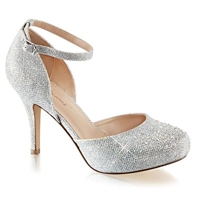 womens silver glitter shoes silver pumps ankle strap rhinestone 3 1/2 inch  heel size DLOEHXM