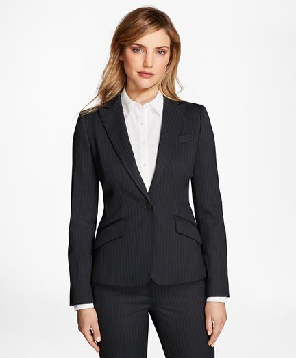 womens suit pinstripe stretch-wool jacket ZNVPMDL