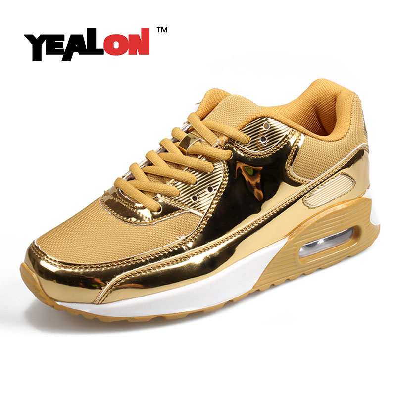 yealon mens gold sneakers running shoes for men sneakers women chaussures  de marche pour TSXQVVC