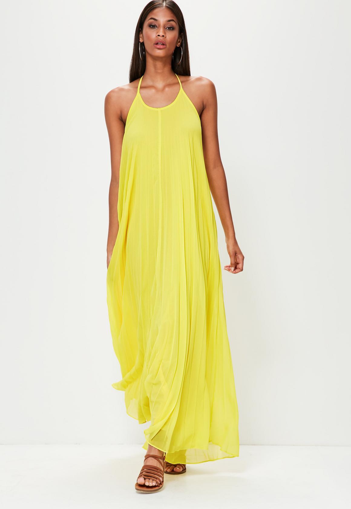 yellow maxi dress yellow pleated maxi dress EDTJBZU