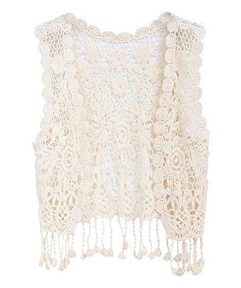 zhuannian little girlu0027s crochet vest with fringe beige AHJPSVY