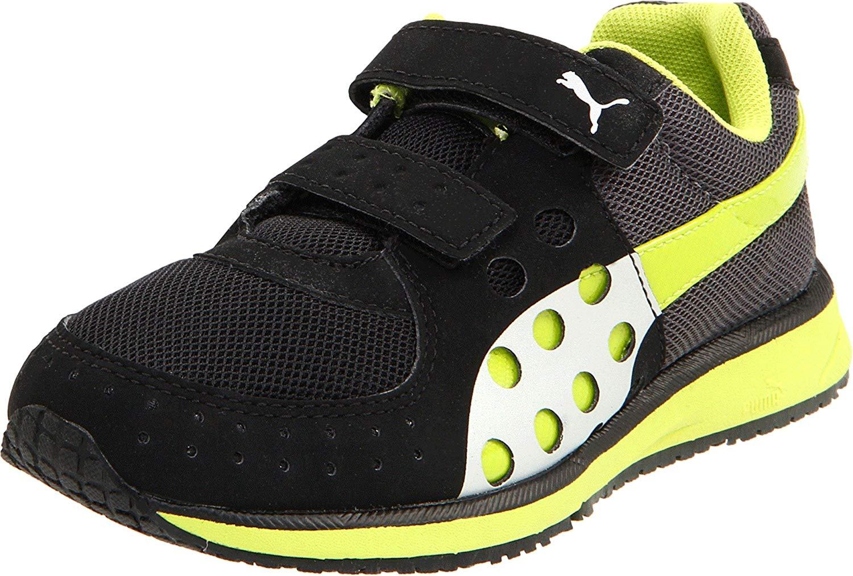 amazon.com | puma faas 300 v sneaker (toddler/little kid/big kid),  black/lime punch VLLSGYG