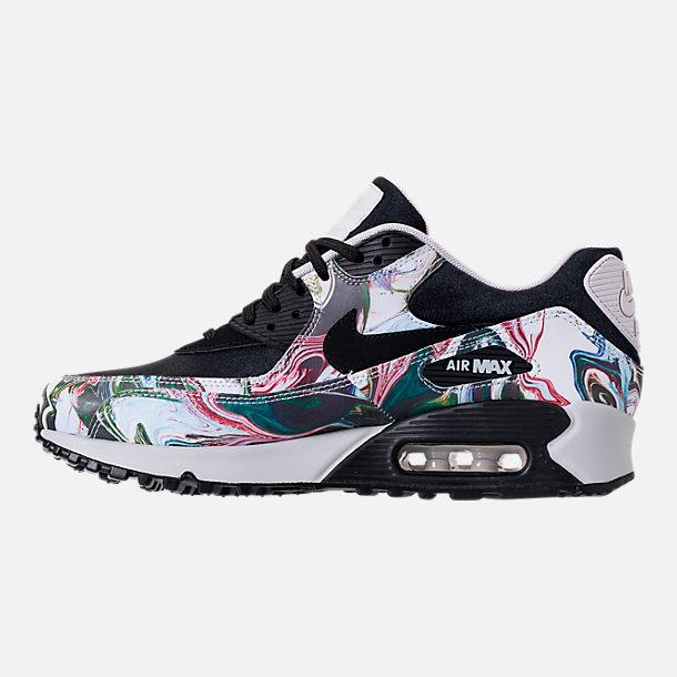 nike-air-max-90-womens left view of womenu0027s nike air max 90 marble running shoes in black/black/ CKWZJFJ