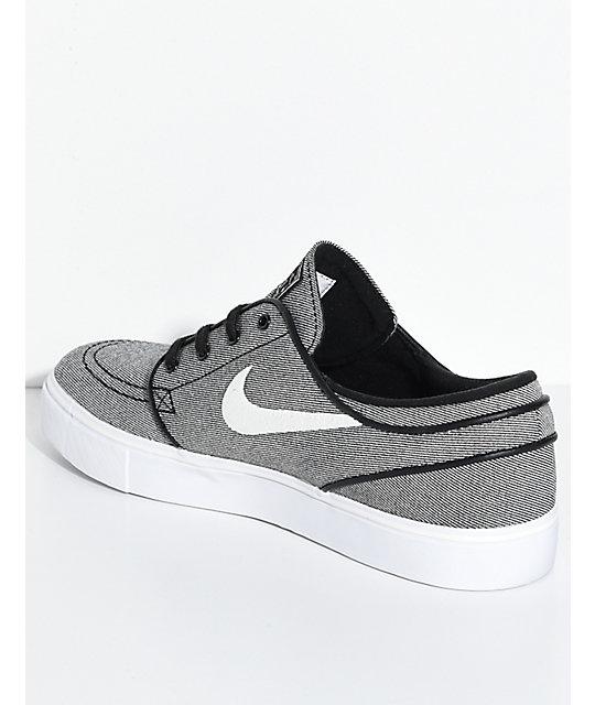 nike skate shoes ... nike sb janoski black sail u0026 white canvas skate shoes ... CMPAWUZ