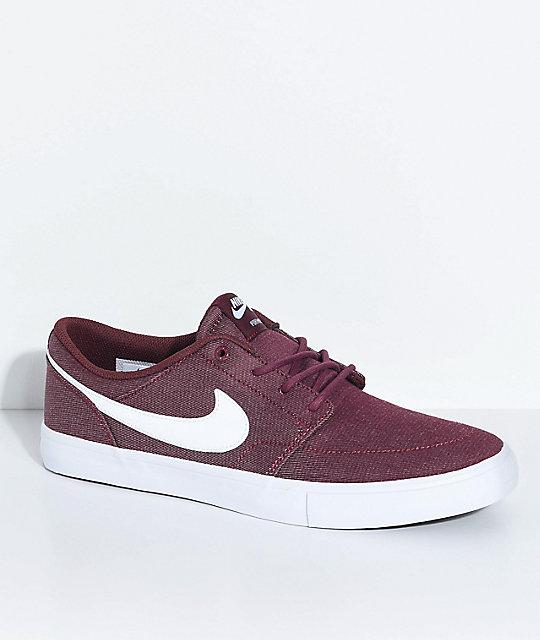 nike skate shoes nike sb portmore ii burgundy u0026 white skate shoes ... IWJFOLF