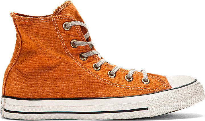 orange converse ... converse premium chuck taylor orange well worn chuck taylor high top FNHVJXV
