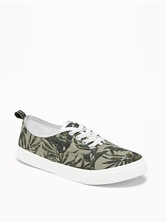 printed elastic-lace canvas sneakers for girls CZOLXKO
