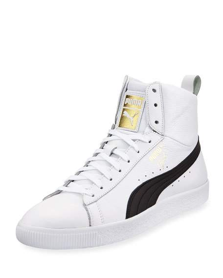 puma high tops menu0027s clyde mid core high-top leather sneakers, white/black BTXRYLP