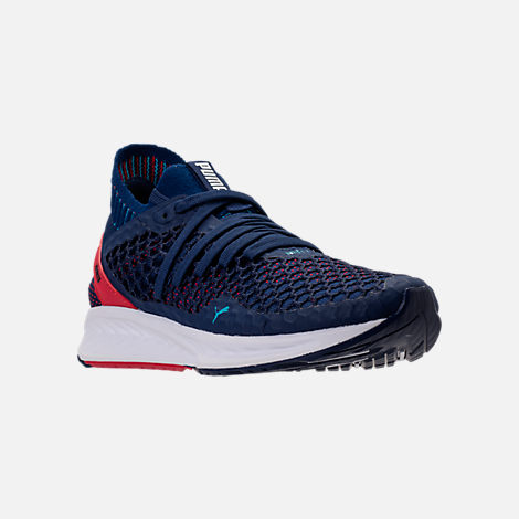 puma running shoes three quarter view of menu0027s puma ignite netfit running shoes in  blue/red/white EDJOROE