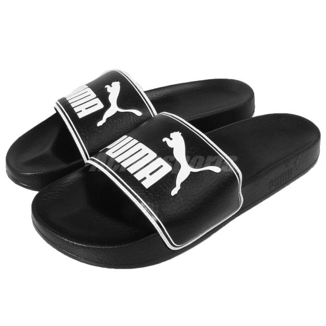 Puma sandals puma leadcat black white big logo men sandals slides slippers 360263-01 OAXMHDE