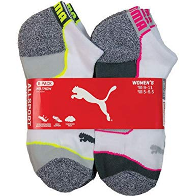 puma socks puma womenu0027s no show all sport athletic socks 6-pair LXTHLIT