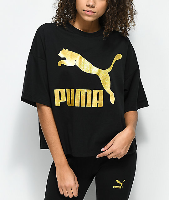Puma t shirts puma glam oversized black u0026 gold t-shirt ... OQHKGJB