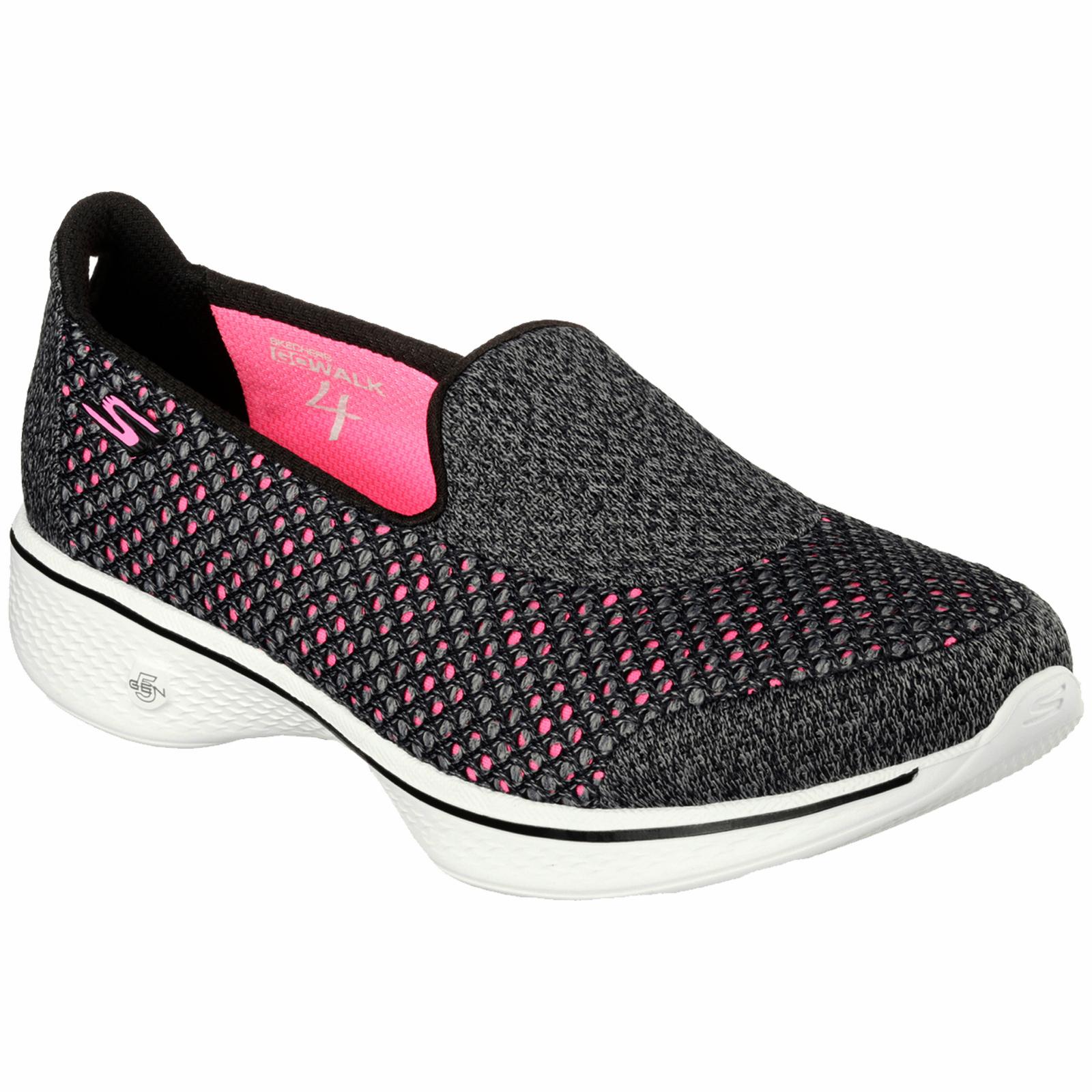 skechers walking shoes ladies-skechers-kindle-go-walk-4-black-pink- JMRXMCT