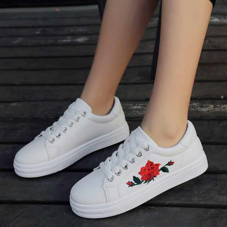 sneakers for girls 2017 new girls running shoes rose embroidery breathable sport shoes thick  sole GZMJXTF