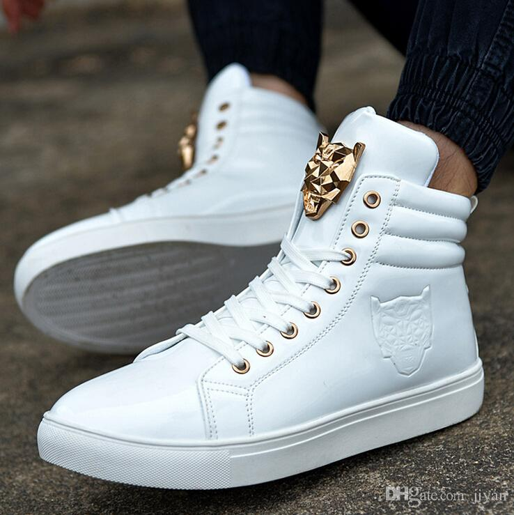 sneakers shoes for men new fashion high top sports shoe for men pu leather lace up red CDYRFTI