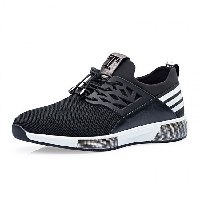 tennis shoes breathable elevator sneakers get height 2.8inch / 7cm black taller tennis  shoes PWAWMAD