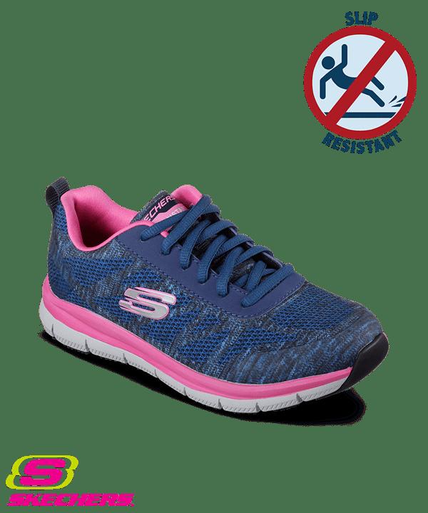 zapatos skechers skechers womenu0027s work comfort flex pro hc navy/pink athletic shoes LJNFJEQ