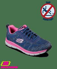 zapatos skechers skechers womenu0027s work comfort flex pro hc navy/pink athletic shoes UNCPZJX