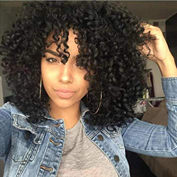 Amazon.com: AISI HAIR Curly Afro Wig with Bangs Shoulder Length Wig