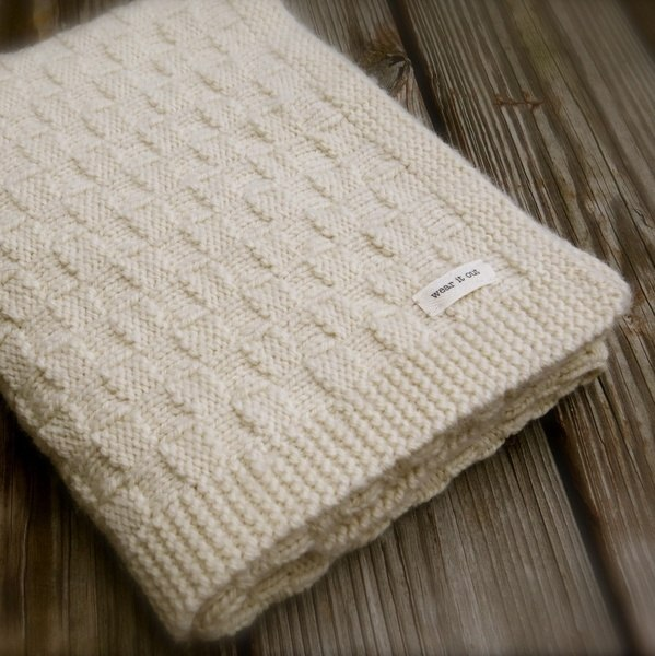 Big Bad Wool Weepaca Basket Weave Baby Blanket Knitting Pattern