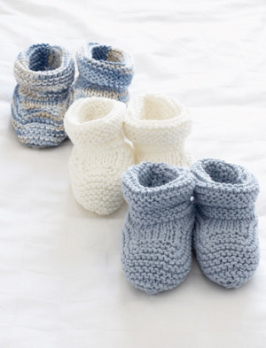 Basic Knit Baby Booties Pattern | AllFreeKnitting.com