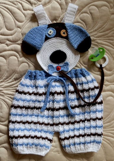 Baby Boy Puppy Face Overalls with Binky Lariat Crochet Pattern