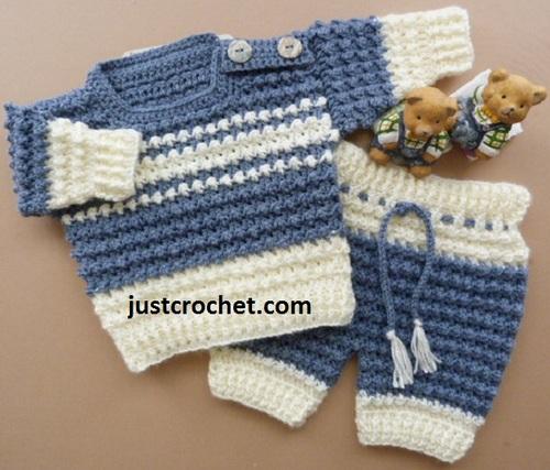Boy's Crochet Sweater & Pants Set | AllFreeCrochet.com