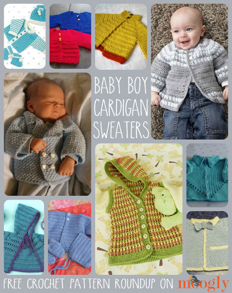 10 Free Crochet Cardigan Sweater Patterns for Baby Boys!