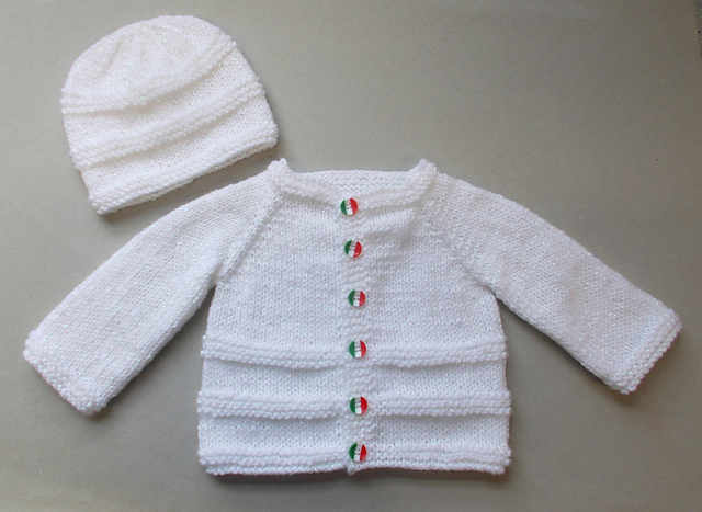 Knitting Patterns Galore - Roma Baby Cardigan and Hat