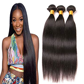 Amazon.com : Straight Hair Brazilian Hair 3 Bundles Unprocessed Sew