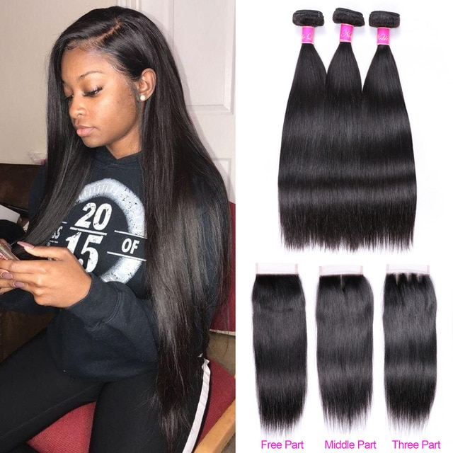 Abijale Straight Hair Bundles With Closure Brazilian Hair Weave