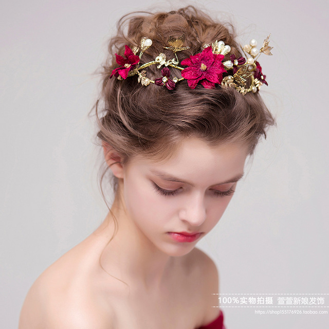 Hot sale Traditional Chinese Wedding Hair Accessories Vintage Red