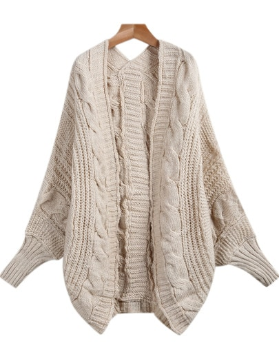Apricot Long Sleeve Loose Cable Knit Cardigan | SHEIN