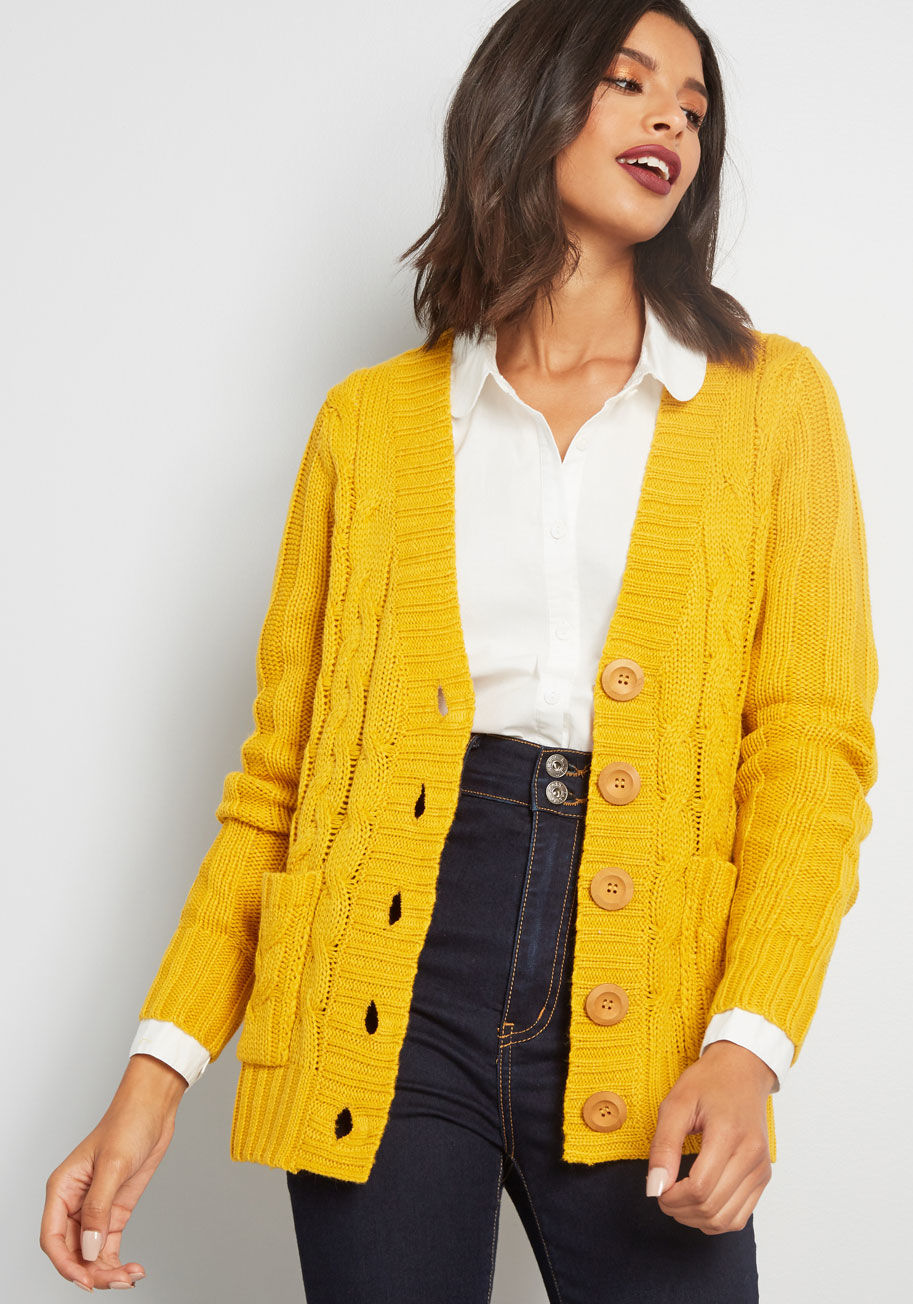 Fireside Cable Knit Cardigan in Marigold Honey | ModCloth
