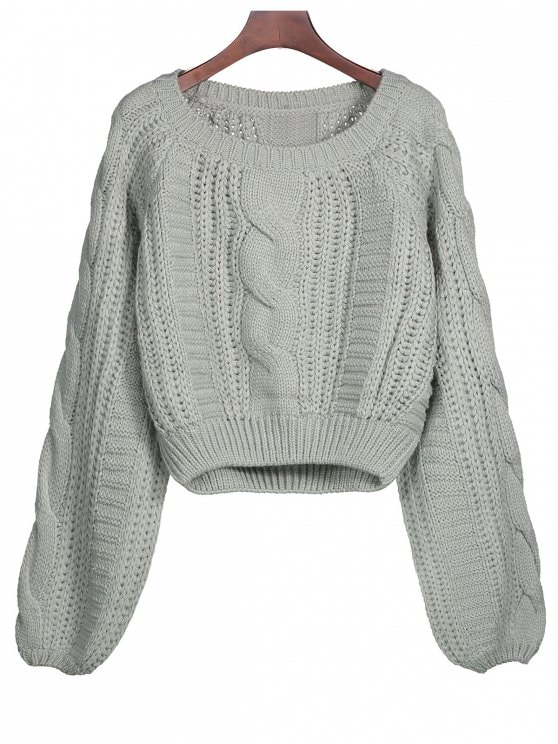 2019 Lantern Sleeve Cable Knit Sweater In GRAY ONE SIZE | ZAFUL
