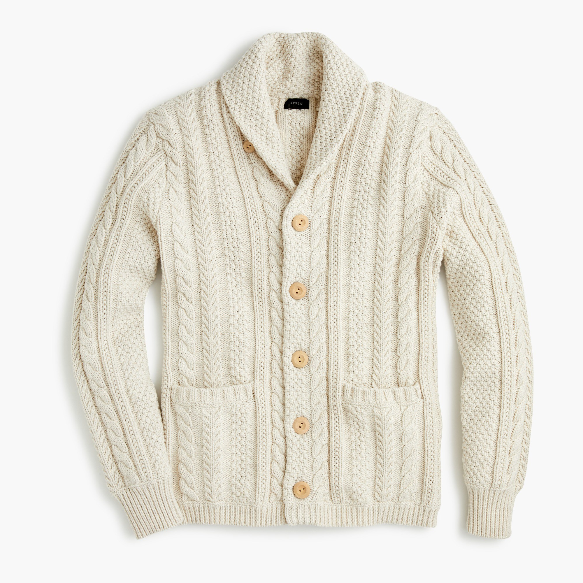 Men's Shawl-Collar Cotton Cable-Knit Cardigan - Men's Sweaters | J.Crew