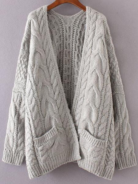 Grey Cable Knit Cardigan with Pockets u2013 Lyfie