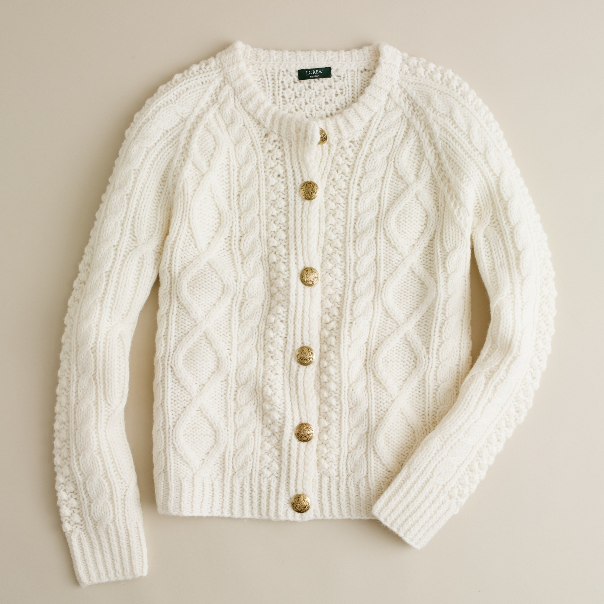 Handknit fisherman cable-knit cardigan : | J.Crew