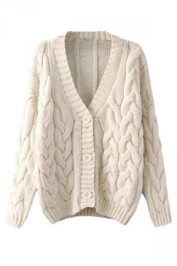 Beige White Warm Womens Cable Knit Vintage Plain Cardigan Sweater