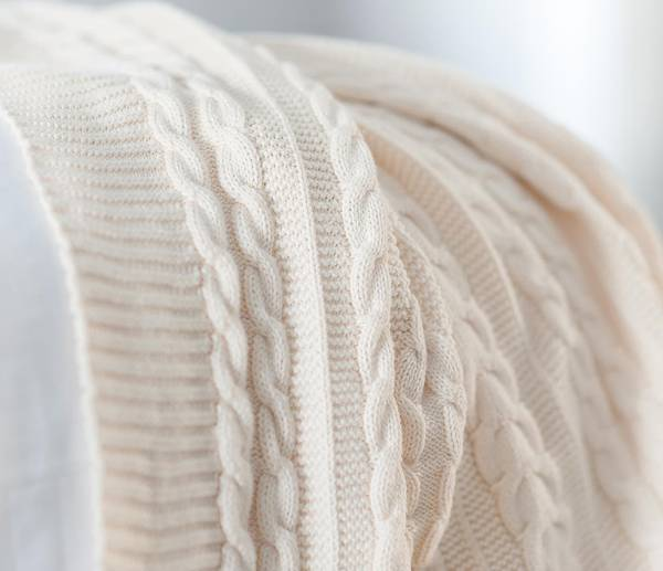 Organic Luxury Cable Knit Throw Blanket by Boll & Branch