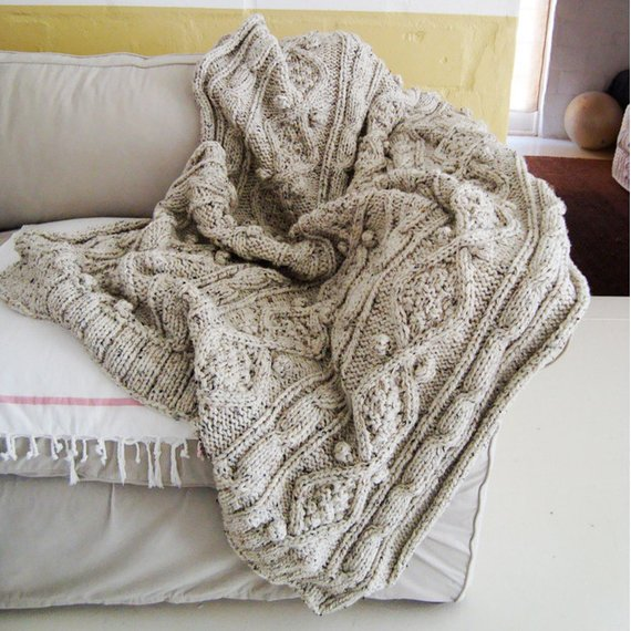 KNITTING PATTERN for chunky cable knit throw | Etsy