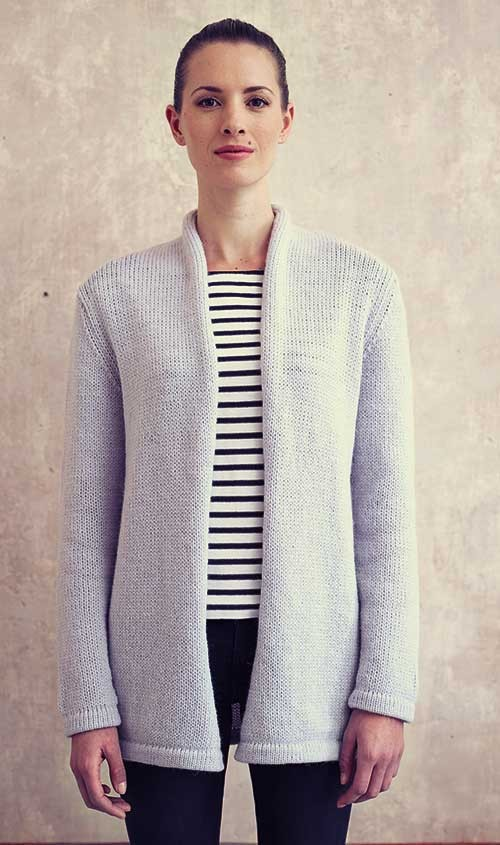 Rolled Collar Cardigan Knitting Pattern