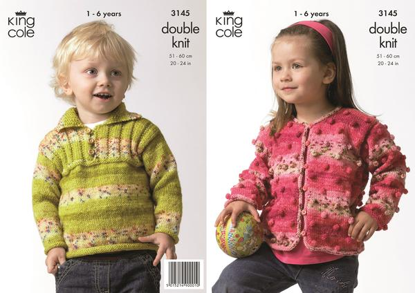 King Cole 3145 - Childrens Cardigan & Sweater in DK Pattern u2013 The