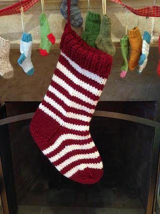 Knitting Patterns Galore - Jumbo Christmas Stocking in a Jiffy - Striped